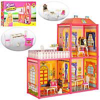 Дитячий іграшковий будиночок Мілана №6984 для ляльок до 16 см, меблі, в коробці., фото 1