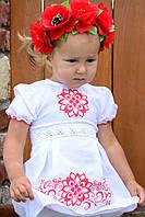 Красивое хлопковое платье с вышивкой для девочки 74-98 см, фото 1