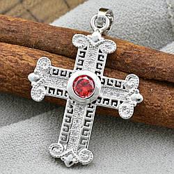 Крестик Xuping 71024 размер 38х23 мм для цепочки 3 мм красный фианит позолота БЗ