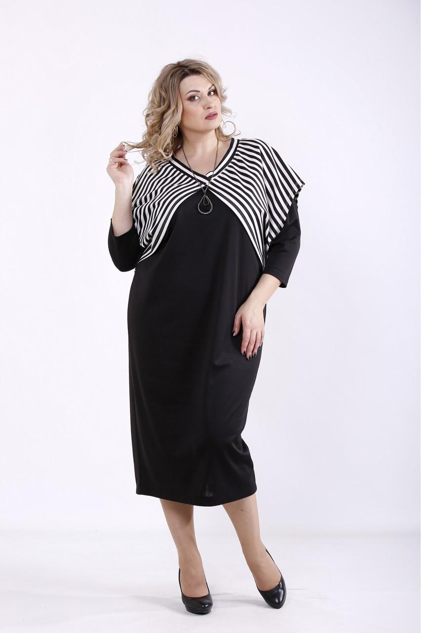 Черное трикотажное платье с накидкой большого размера 42-74  01351-1