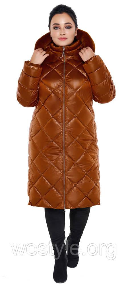 Воздуховик женский зимний с натуральной опушкой на капюшоне Braggart Angel's Fluff - 31046 сиена