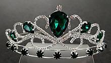 Диадема принцессы зеленые кристаллы на металлическом обруче, высота 5,5 см, серебристая