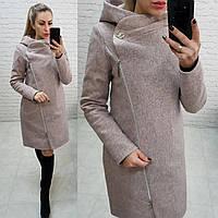Пальто с капюшоном зимнее кашемир арт. 136/1  меланж (цвет 4) серо - розовый / пудра меланж