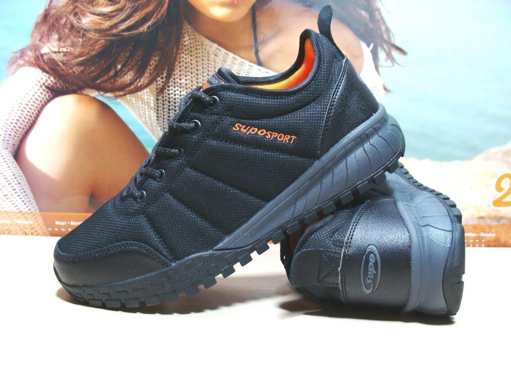 Мужские термо кроссовки -Supo Waterproof черно-оранжевые 46 р.