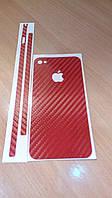 Декоративная защитная пленка на Iphone 4/4S - красный карбон