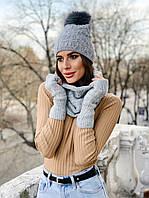 Женский модный набор:шапка, хомут, перчатки (расцветки)