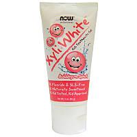 Now Foods Xyli-White Kids Toothpaste Gel Bubblegum Splash Зубная паста-гель детская без фтора со вкусом Жвачки