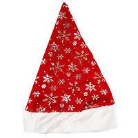 Шапка Деда Мороза со снежинками  Только по 12 штук