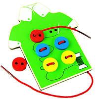 Деревянная игрушка Шнуровка «Пуговки» (зелёная), развивающие товары для детей.