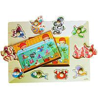 Деревянная игрушка Вкладыши «Аквариум», развивающие товары для детей.