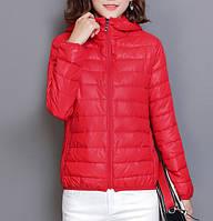 Куртка демисезонная женская стеганая с капюшоном, красная размер L, фото 1