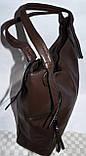 Женские сумки-торбочки из искусственной кожи с вертикальными карманами по бокам  35*33см (черная и серая), фото 2