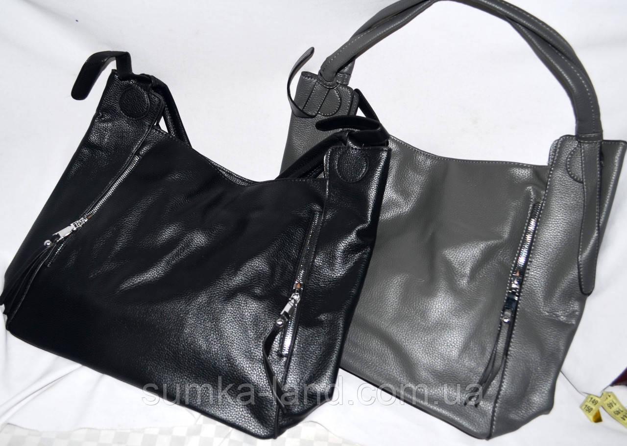 Женские сумки-торбочки из искусственной кожи с вертикальными карманами по бокам  35*33см (черная и серая)