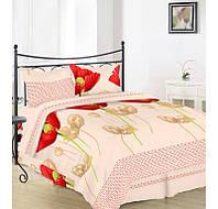 Семейный  комплект постельного белья Вилена бязь Голд Алые маки
