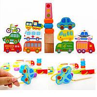 Деревянная игрушка Шнуровка «Транспорт-1» (объемная)., развивающие товары для детей.