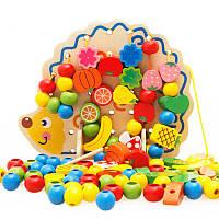 Деревянная игрушка Шнуровка «Ежик собирает урожай», развивающие товары для детей.