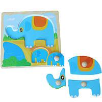 Деревянная игрушка Вкладыши-пазлы «Слоненок», развивающие товары для детей.