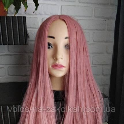 Парик розовый пудровый  без челки длинный ровные парик  парики карнавальный хелоуин ведьма карнавальные, фото 2