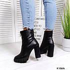 Женские демисезонные ботинки в черном цвете, натуральная кожа (под заказ 7-16 дней), фото 4