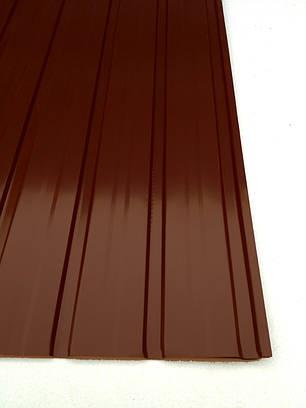 Профнастил  для забора ПС-10 цвет: шоколад, 0,25мм 1,2м Х 0,95м, фото 2
