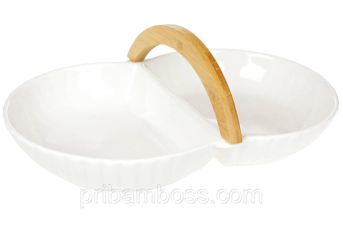 Блюдо Менажница фарфоровая двухсекционная, 33см