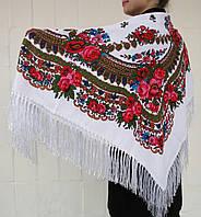 Красивый Платок Украинский С Бахромой Белый