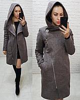 Пальто зима с капюшоном кашемировое арт. 136/1 меланж (цвет 6) бежевый+ пудра / мокко