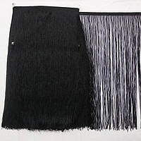 Бахрома танцевальная чёрная (лапша) для одежды 50 см, тесьма 1,2 см, длина нитей 48,8 см