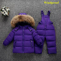 Комбинезон детский зимний фиолетовый до - 35 градусов с натуральным мехом