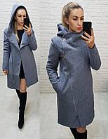 Пальто зима с капюшоном кашемировое арт. 136/1 меланж (цвет 7) серо - голубой