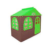 """Игровой домик для детей от 1 года, коричневый с зеленой крышей """"Фламинго"""" маленький"""