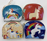 Детские лаковые кошельки Единорог для девочек с рисунком 12,5*10 см, фото 2