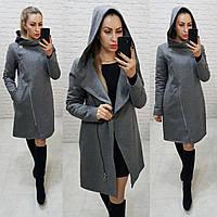 Пальто зима с капюшоном кашемировое арт. 136/1 меланж (цвет 8) классический серый