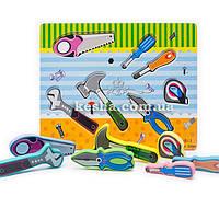 Деревянная игрушка Объемные вкладыши «Инструменты»., развивающие товары для детей.