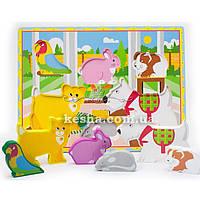 Деревянная игрушка Объемные вкладыши «Домашние животные»., развивающие товары для детей.