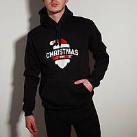 Худи толстовка с капюшоном мужской зимний теплый черный с принтом Christmas, фото 1