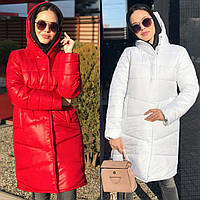 Зимняя женская куртка-пальто, длинная, дутая на силиконе