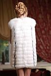 Жилет з полярної лисиці Saga у розпуск зі шкірою, фото 4