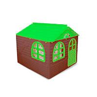 """Игровой домик для детей от 1 года, коричневый с зеленой крышей """"Фламинго"""""""