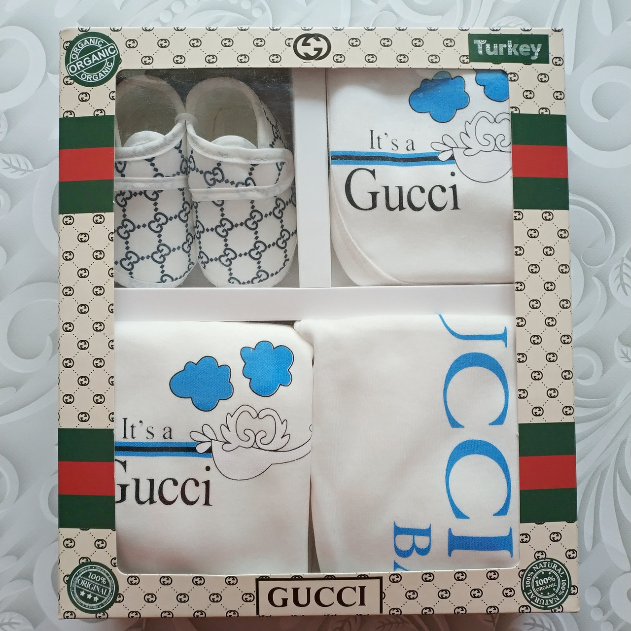 Набор Gucci на выписку, в подарочной коробке, 5 предметов