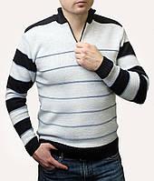 Мужской стильный теплый светло-серый свитер с горлом на молнии, размеры: M, L, XL
