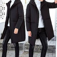 Куртка зимняя мужская черная, длинный пуховик, СС-8458-10