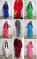 Р-р 44, 46, 48, 50, 52, Махровый женский халат_SOFT длинный с капюшоном