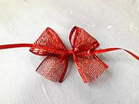 Новорічний бант сітка брокат 8*9 см червоний Новогодний бант сетка брокат красный
