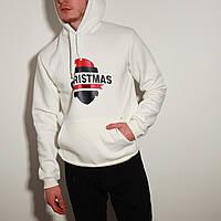 Худи толстовка с капюшоном мужской зимний теплый белый с принтом Christmas, фото 1