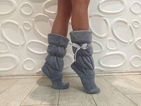 Детские домашние махровые сапожки серого цвета 27-28 размер