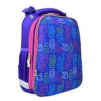 Рюкзак школьный каркасный ортопедический  YES  H-12-1 Kotomaniya blue, 38*29*15   код: 554486