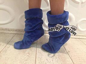Домашние махровые женские сапожки плюшевые голубого цвета