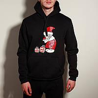 Худи толстовка с капюшоном мужской зимний теплый черный с принтом Santa, фото 1