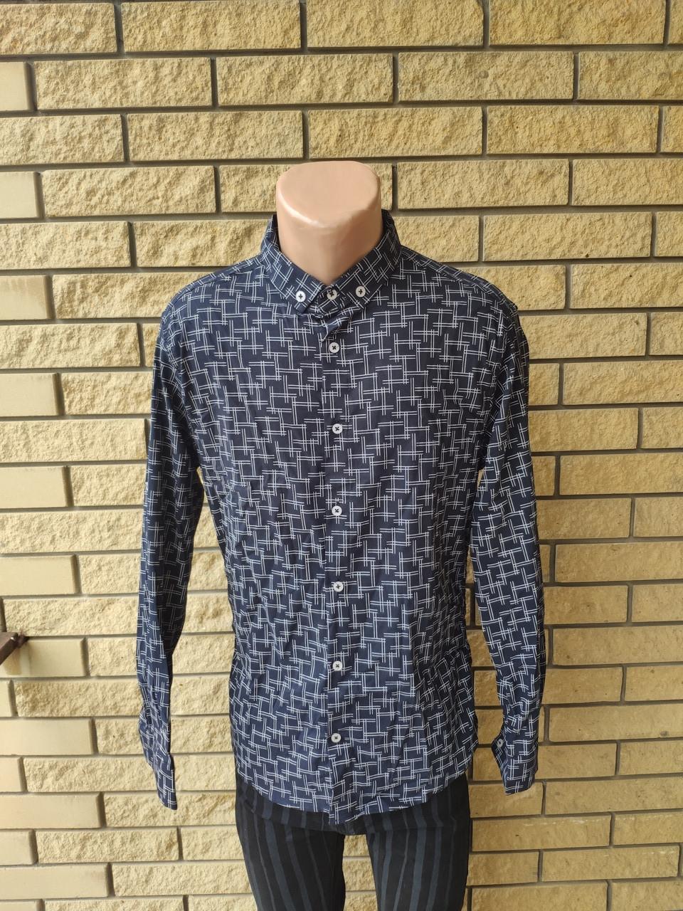 Рубашка мужская стрейчевая коттоновая брендовая высокого качества FOSSIYA, Турция